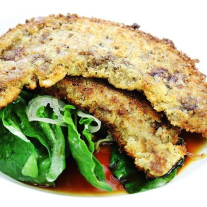Recipes capitol restaurant parmesan crumbed lambs liver with gorgonzola dressed baby spinach forumfinder Gallery
